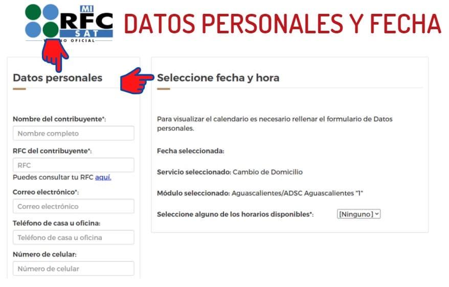 datos personales y fecha
